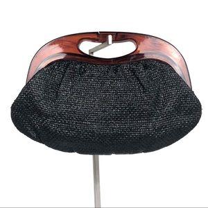 Vtg MARDANE USA Black Straw & Lucite Handbag